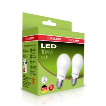 """Промо-набор EUROLAMP LED Лампа A60 10W E27 3000K акция """"1+1"""""""
