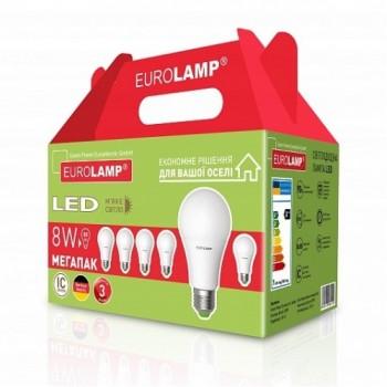 """Промо-набор EUROLAMP LED Лампа ЕКО A60 8W E27 3000K  акция """"6в1"""""""